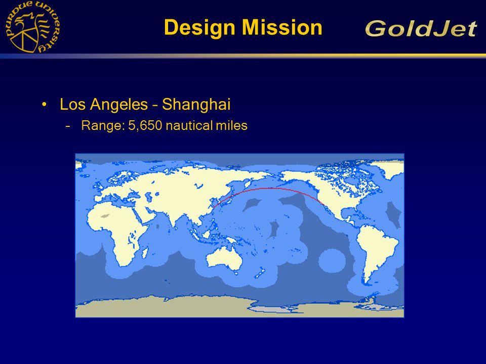 Design Mission Los Angeles – Shanghai –Range: 5,650 nautical miles