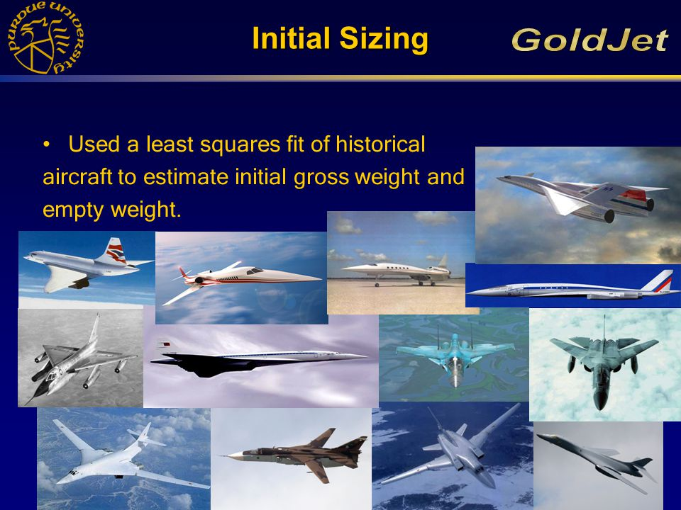 Initial Sizing Used a least squares fit of historical aircraft to estimate initial gross weight and empty weight.