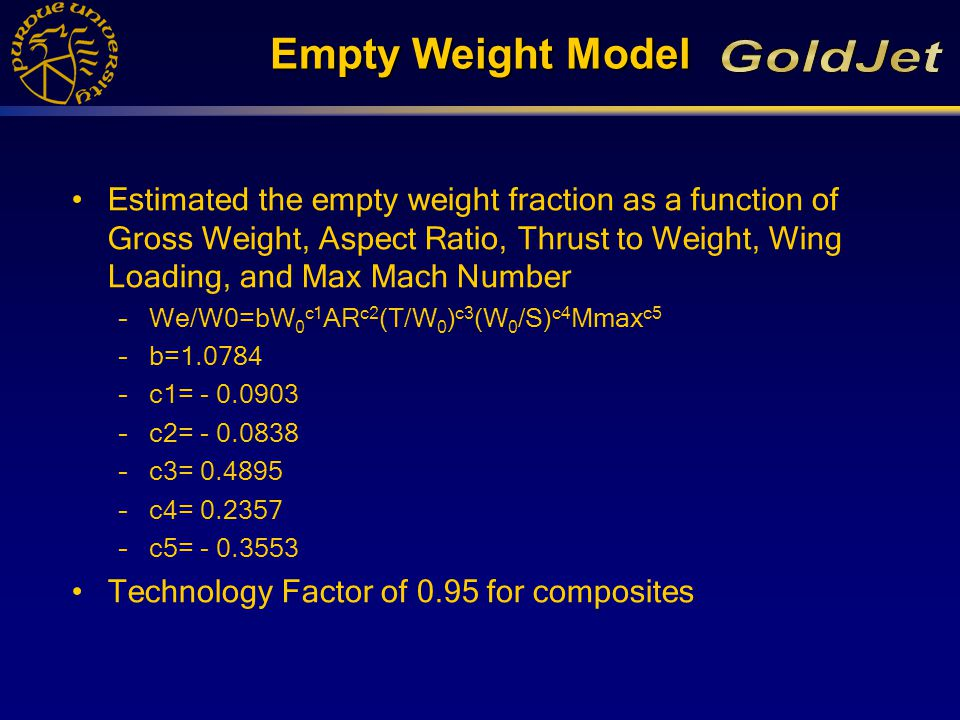 Empty Weight Model Estimated the empty weight fraction as a function of Gross Weight, Aspect Ratio, Thrust to Weight, Wing Loading, and Max Mach Number –We/W0=bW 0 c1 AR c2 (T/W 0 ) c3 (W 0 /S) c4 Mmax c5 –b=1.0784 –c1= - 0.0903 –c2= - 0.0838 –c3= 0.4895 –c4= 0.2357 –c5= - 0.3553 Technology Factor of 0.95 for composites