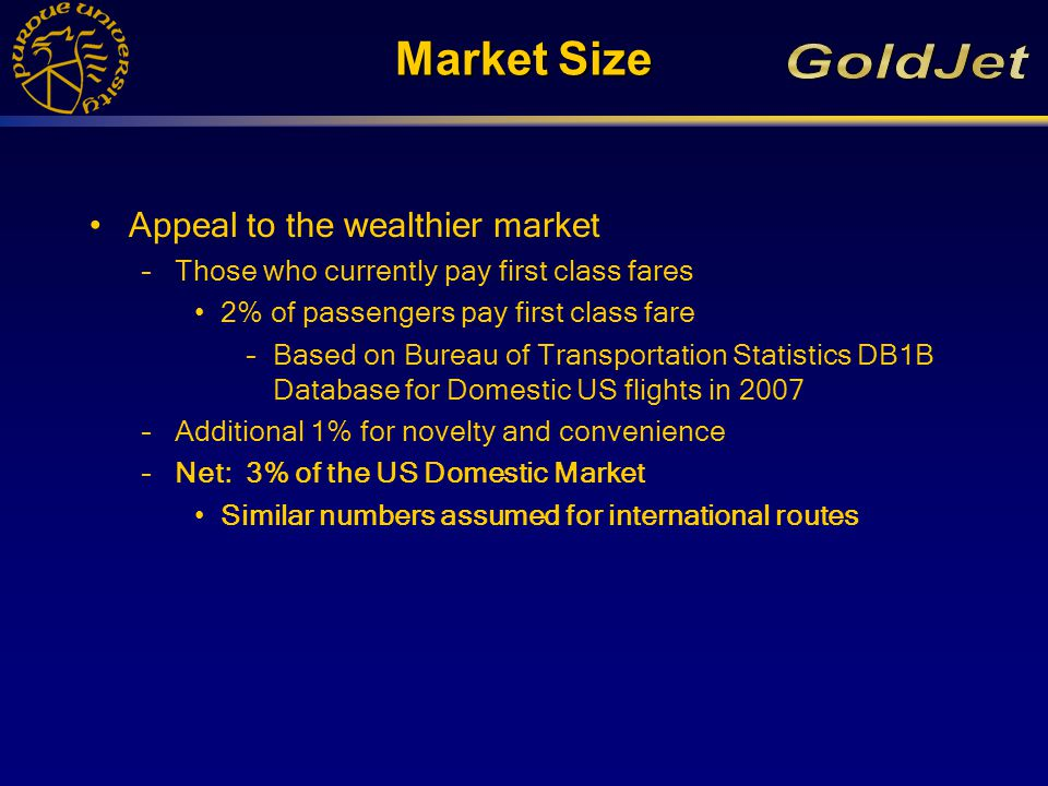 Projected Sales Expect to sell 120 Aircraft –Projecting market growth to 2020 –Based on Key City Pairs Long enough to provide time savings Travelled enough to provide market foothold –Hard numbers from routes with at least one leg in the US –Include an additional 50% for strictly international routes (particularly in Asia and the Middle East)