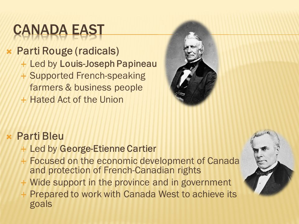  Parti Rouge (radicals)  Led by Louis-Joseph Papineau  Supported French-speaking farmers & business people  Hated Act of the Union  Parti Bleu 