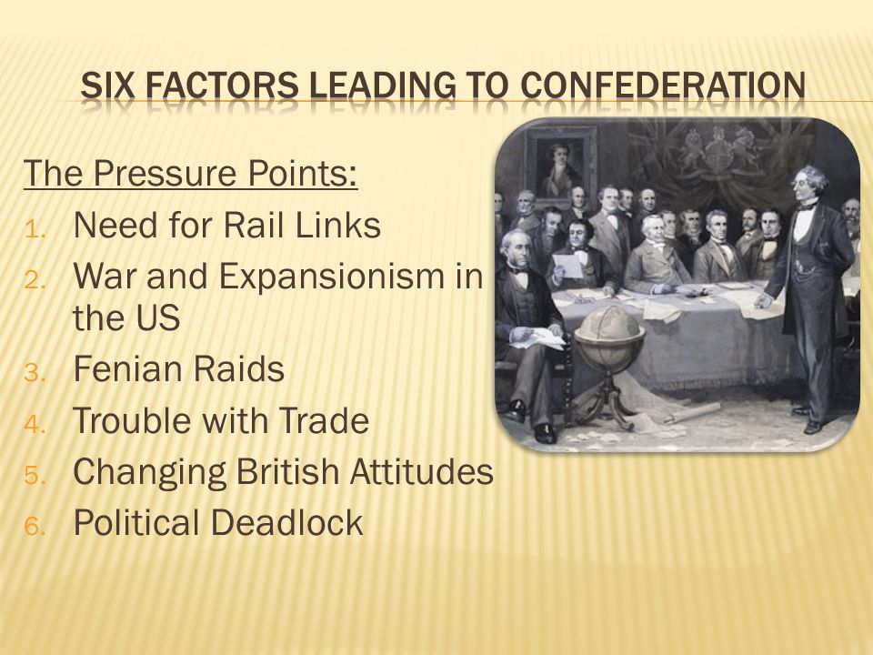 The Pressure Points: 1. Need for Rail Links 2. War and Expansionism in the US 3. Fenian Raids 4. Trouble with Trade 5. Changing British Attitudes 6. P