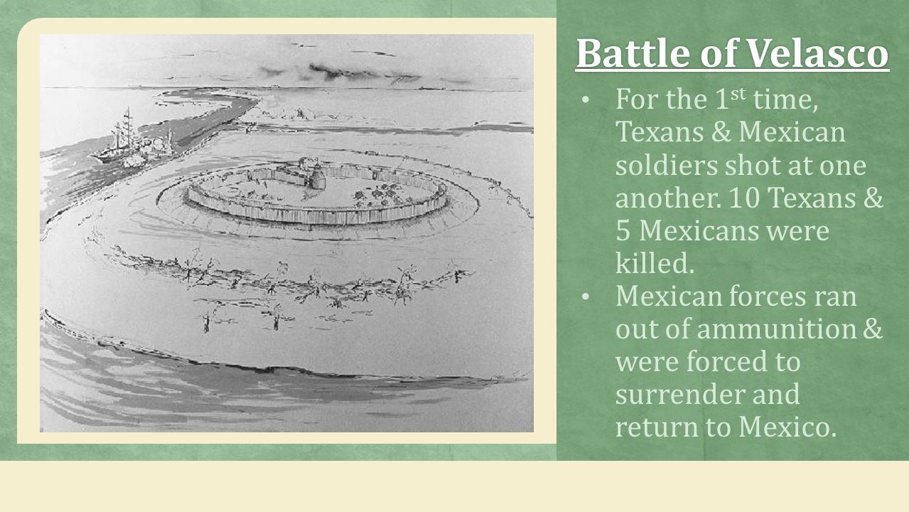 Battle of VelascoBattle of Velasco For the 1 st time, Texans & Mexican soldiers shot at one another. 10 Texans & 5 Mexicans were killed. Mexican force