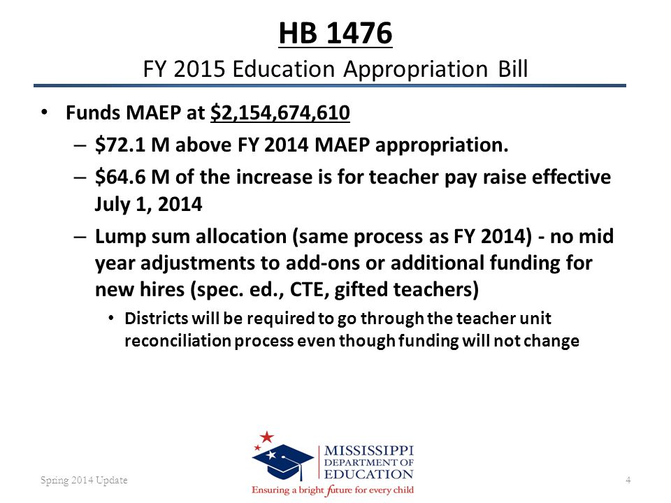 HB 1476 FY 2015 Education Appropriation Bill Funds MAEP at $2,154,674,610 – $72.1 M above FY 2014 MAEP appropriation.