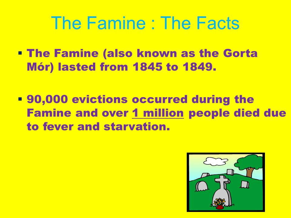 The Famine : The Facts  The Famine (also known as the Gorta Mór) lasted from 1845 to 1849.  90,000 evictions occurred during the Famine and over 1 m