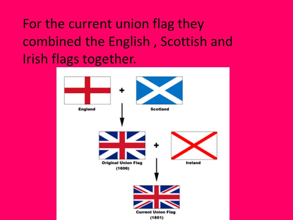 For the current union flag they combined the English, Scottish and Irish flags together.