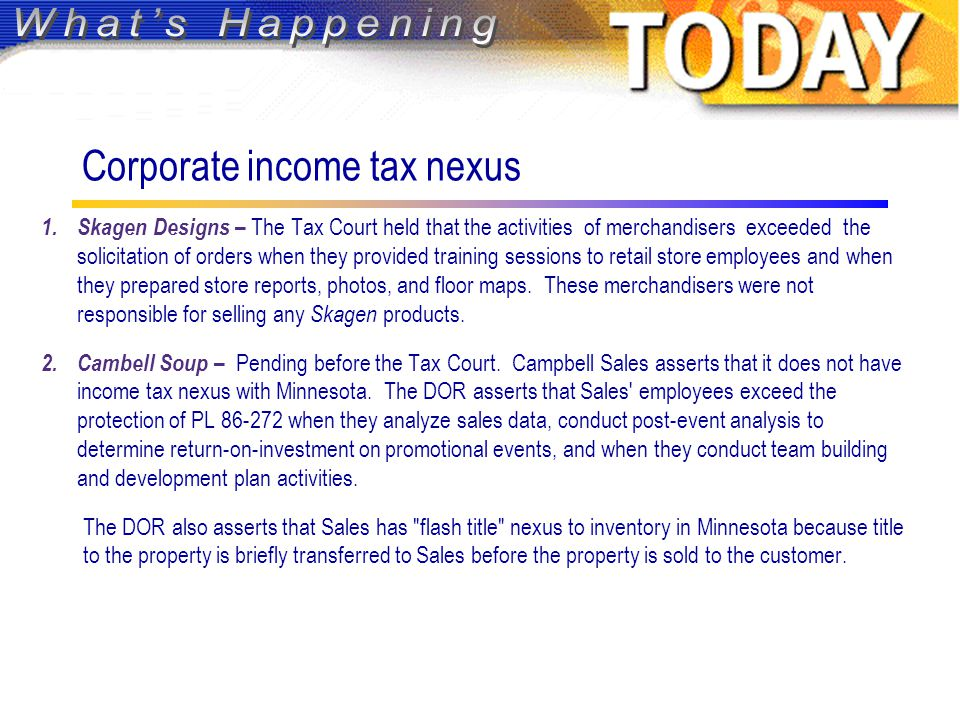 Corporate income tax nexus 1.