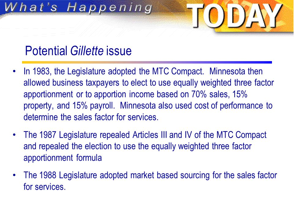 Potential Gillette issue In 1983, the Legislature adopted the MTC Compact.