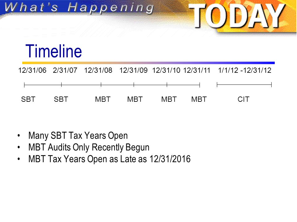 Timeline Many SBT Tax Years Open MBT Audits Only Recently Begun MBT Tax Years Open as Late as 12/31/2016 SBT SBT MBT MBT MBT MBT CIT 12/31/06 2/31/07 12/31/08 12/31/09 12/31/10 12/31/111/1/12 -12/31/12