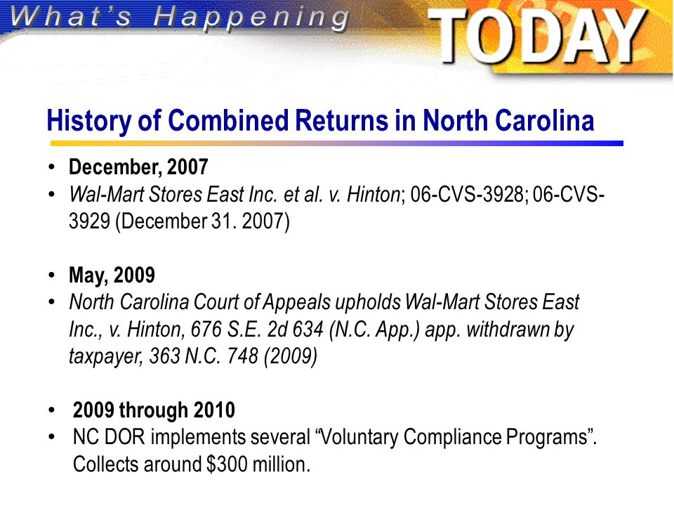 History of Combined Returns in North Carolina December, 2007 Wal-Mart Stores East Inc.