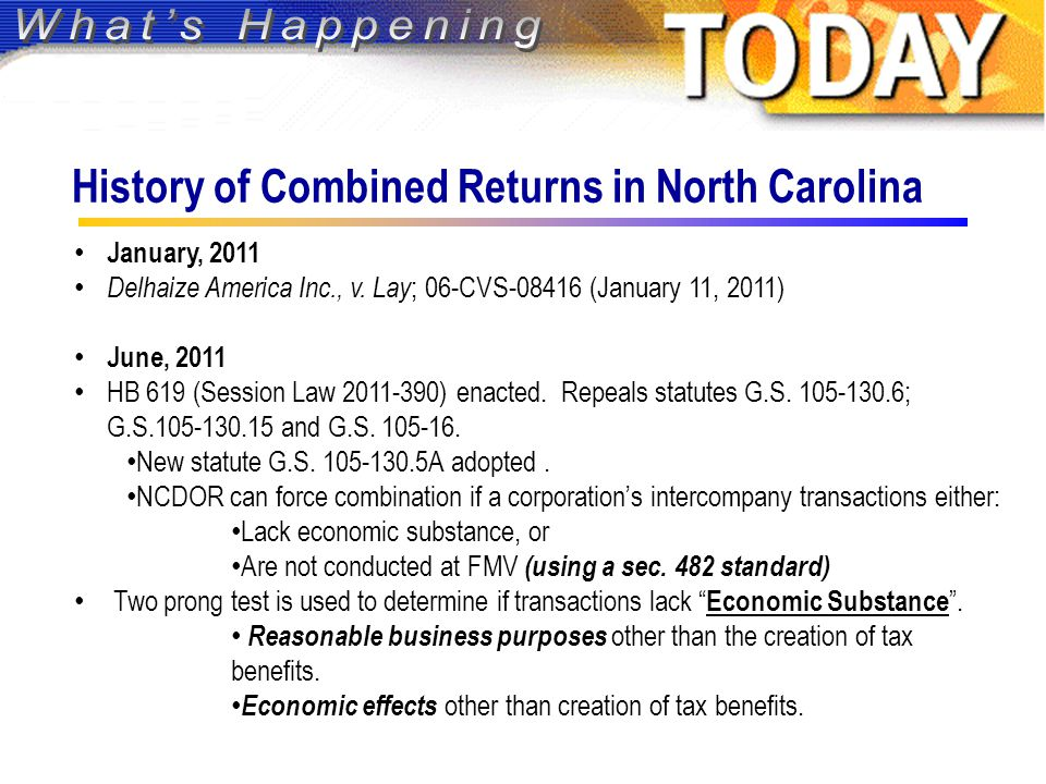 History of Combined Returns in North Carolina January, 2011 Delhaize America Inc., v.