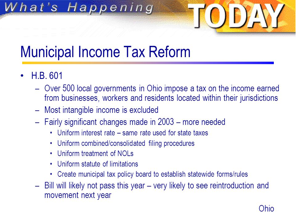 Municipal Income Tax Reform H.B.