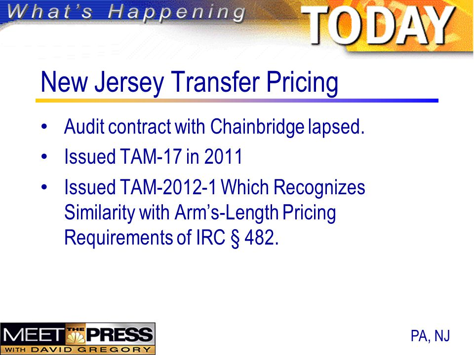 New Jersey Transfer Pricing Audit contract with Chainbridge lapsed.