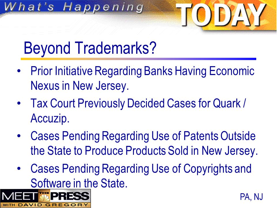 Beyond Trademarks. Prior Initiative Regarding Banks Having Economic Nexus in New Jersey.