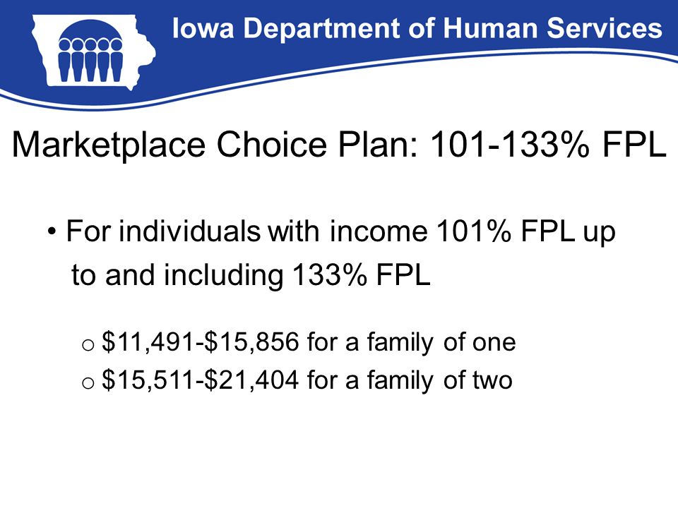 Marketplace Choice Plan: 101-133% FPL For individuals with income 101% FPL up to and including 133% FPL o $11,491-$15,856 for a family of one o $15,511-$21,404 for a family of two