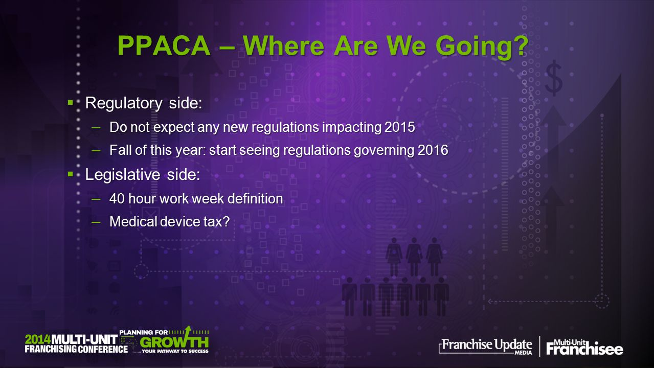  Regulatory side: — Do not expect any new regulations impacting 2015 — Fall of this year: start seeing regulations governing 2016  Legislative side: — 40 hour work week definition — Medical device tax.