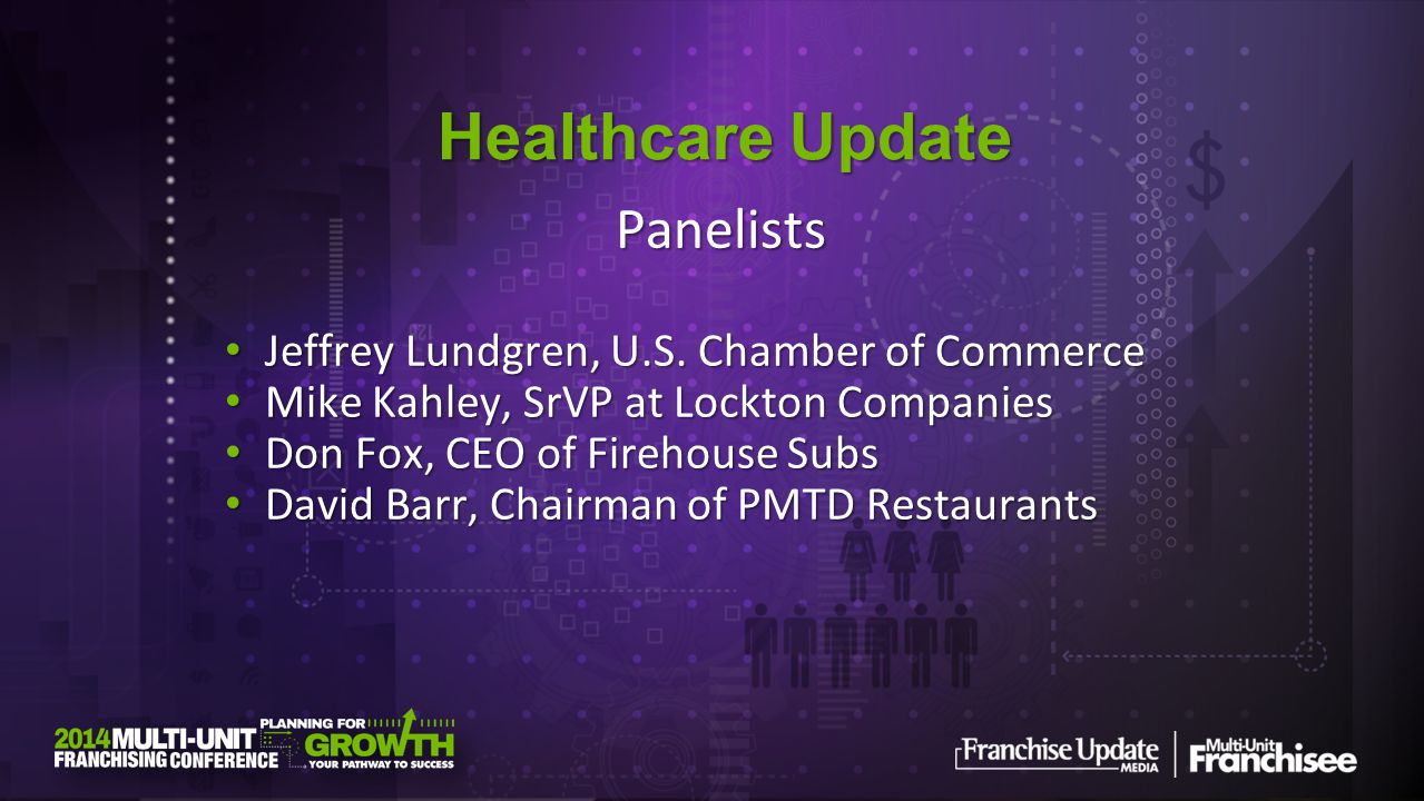 Healthcare Update Panelists Jeffrey Lundgren, U.S. Chamber of Commerce Jeffrey Lundgren, U.S. Chamber of Commerce Mike Kahley, SrVP at Lockton Compani