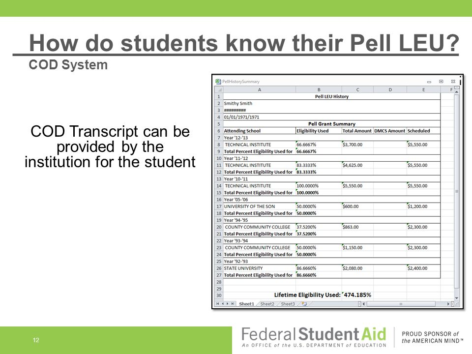 12 COD Transcript can be provided by the institution for the student How do students know their Pell LEU? COD System