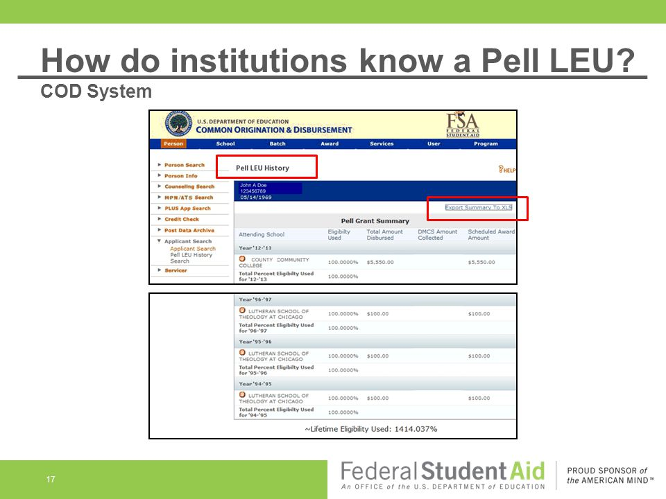 17 How do institutions know a Pell LEU? COD System