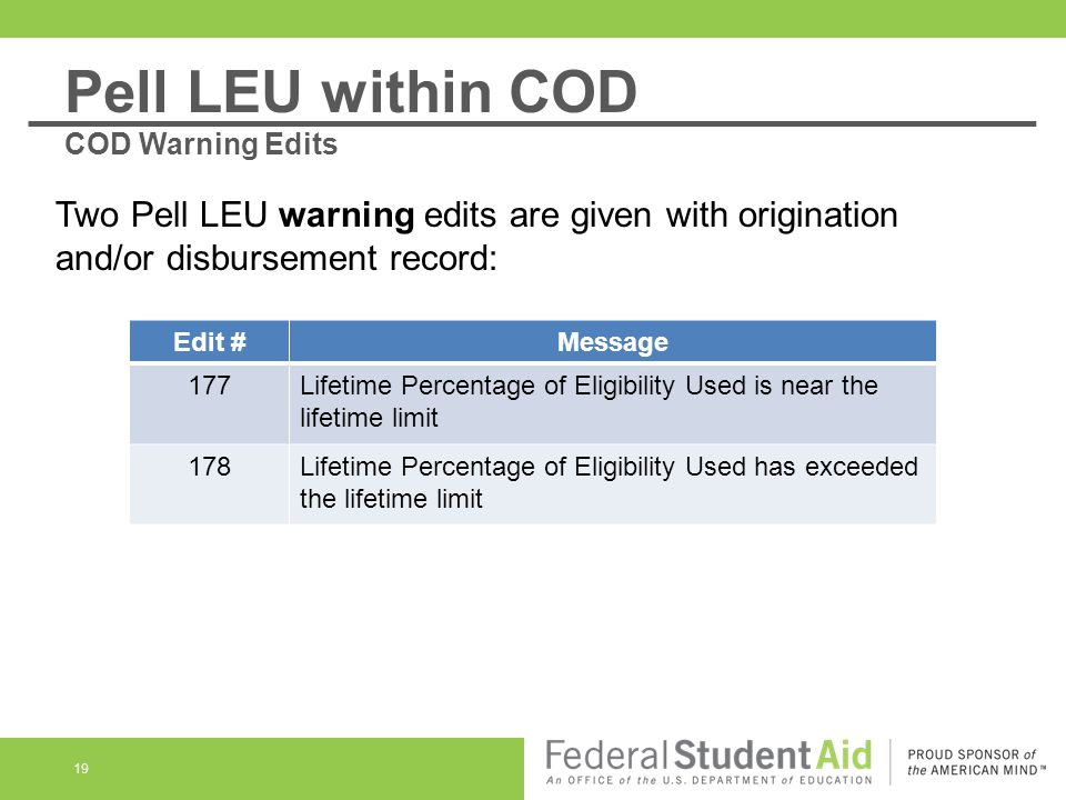 19 Two Pell LEU warning edits are given with origination and/or disbursement record: Edit #Message 177Lifetime Percentage of Eligibility Used is near