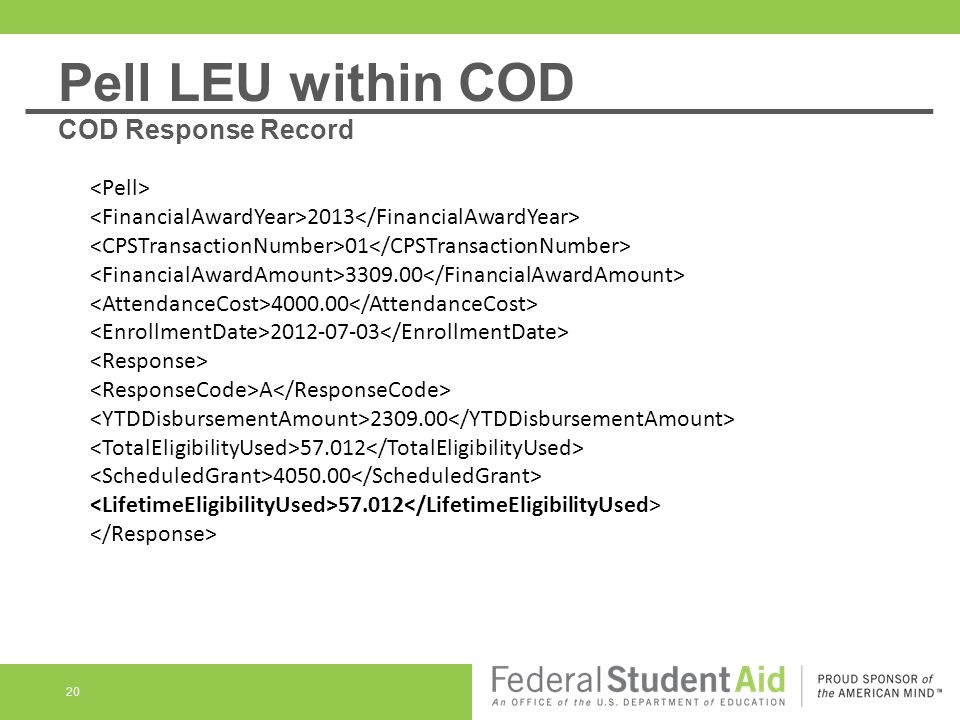 20 2013 01 3309.00 4000.00 2012-07-03 A 2309.00 57.012 4050.00 57.012 Pell LEU within COD COD Response Record