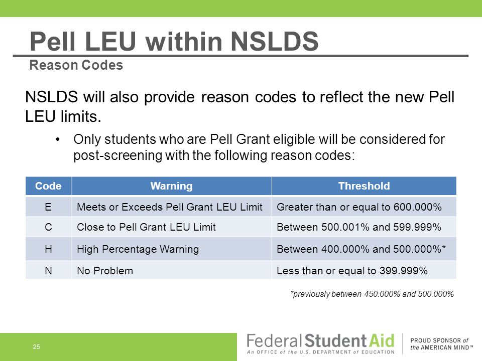 25 NSLDS will also provide reason codes to reflect the new Pell LEU limits. Only students who are Pell Grant eligible will be considered for post-scre
