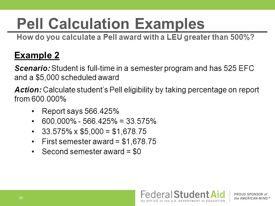 32 Example 2 Scenario: Student is full-time in a semester program and has 525 EFC and a $5,000 scheduled award Action: Calculate student's Pell eligib