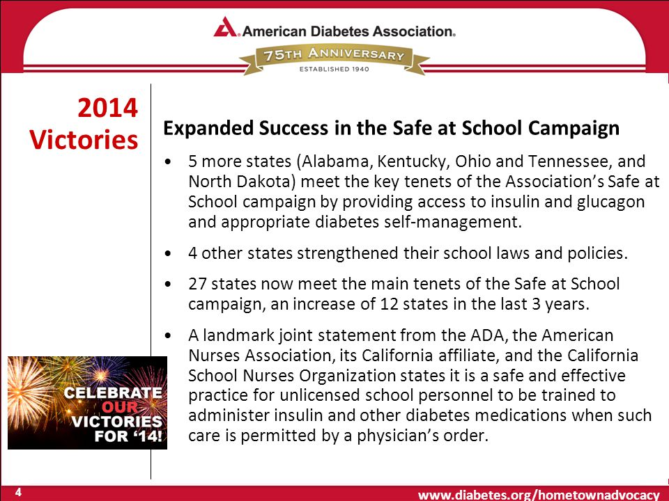 www.diabetes.org/hometownadvocacy 2014 Victories Expanded Success in the Safe at School Campaign 5 more states (Alabama, Kentucky, Ohio and Tennessee, and North Dakota) meet the key tenets of the Association's Safe at School campaign by providing access to insulin and glucagon and appropriate diabetes self-management.