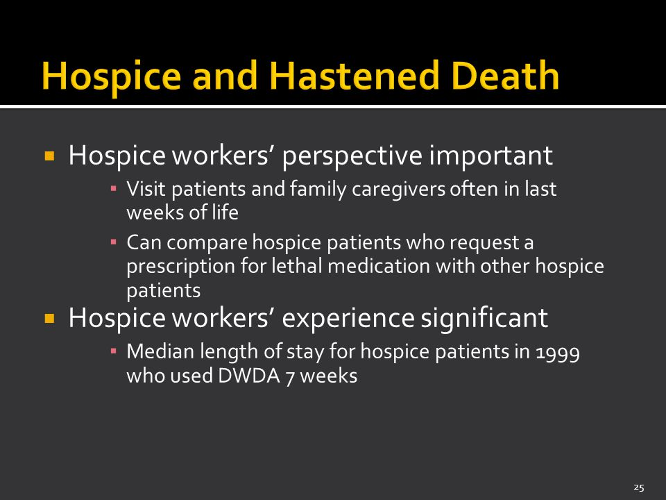  Hospice workers' perspective important ▪ Visit patients and family caregivers often in last weeks of life ▪ Can compare hospice patients who request