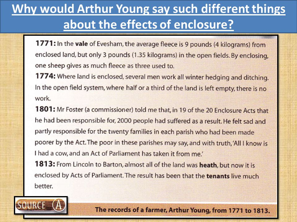 Doing History – Source Analysis Take a look at Source A What is Arthur Young saying about the advantages and disadvantages of enclosure.