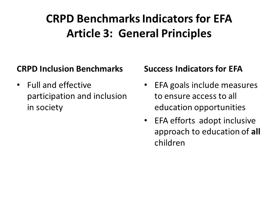 CRPD Benchmarks Indicators for EFA Article 3: General Principles CRPD Inclusion Benchmarks Full and effective participation and inclusion in society Success Indicators for EFA EFA goals include measures to ensure access to all education opportunities EFA efforts adopt inclusive approach to education of all children