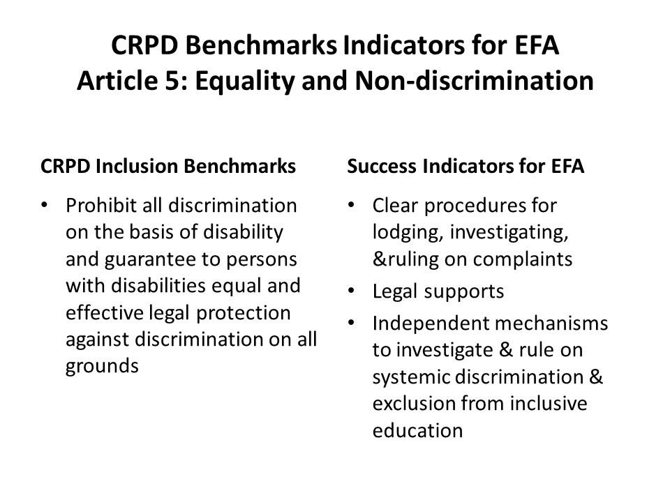 CRPD Benchmarks Indicators for EFA Article 5: Equality and Non-discrimination CRPD Inclusion Benchmarks Prohibit all discrimination on the basis of disability and guarantee to persons with disabilities equal and effective legal protection against discrimination on all grounds Success Indicators for EFA Clear procedures for lodging, investigating, &ruling on complaints Legal supports Independent mechanisms to investigate & rule on systemic discrimination & exclusion from inclusive education