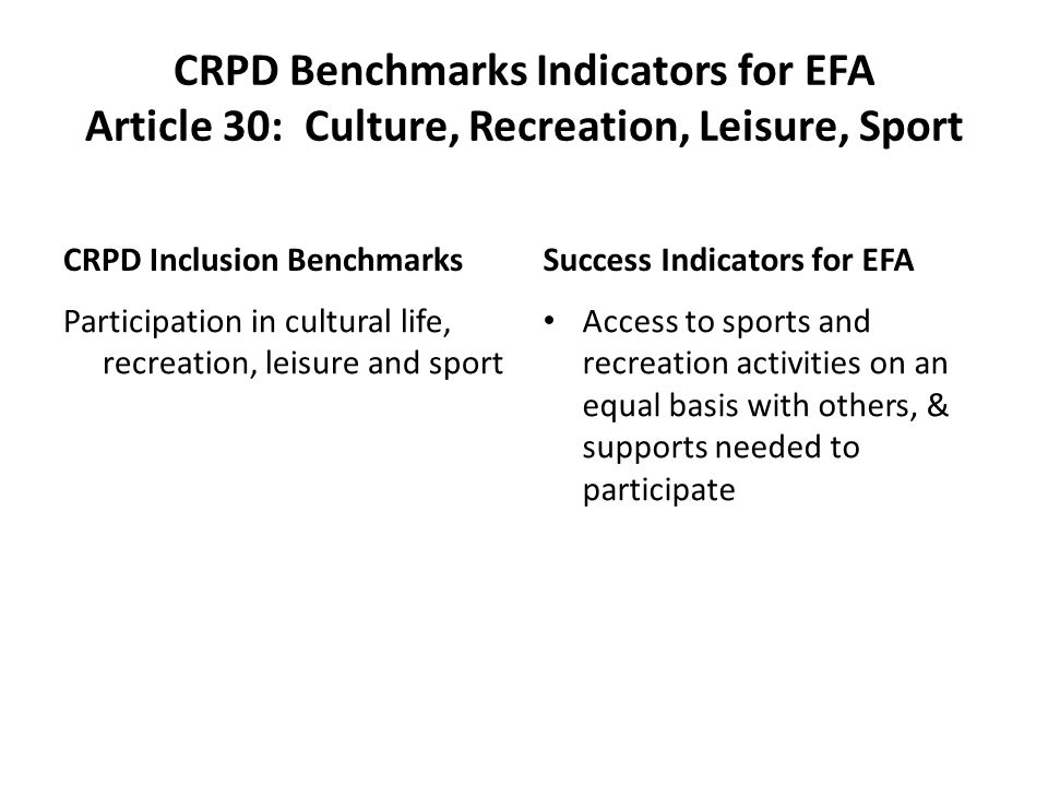 CRPD Benchmarks Indicators for EFA Article 30: Culture, Recreation, Leisure, Sport CRPD Inclusion Benchmarks Participation in cultural life, recreation, leisure and sport Success Indicators for EFA Access to sports and recreation activities on an equal basis with others, & supports needed to participate
