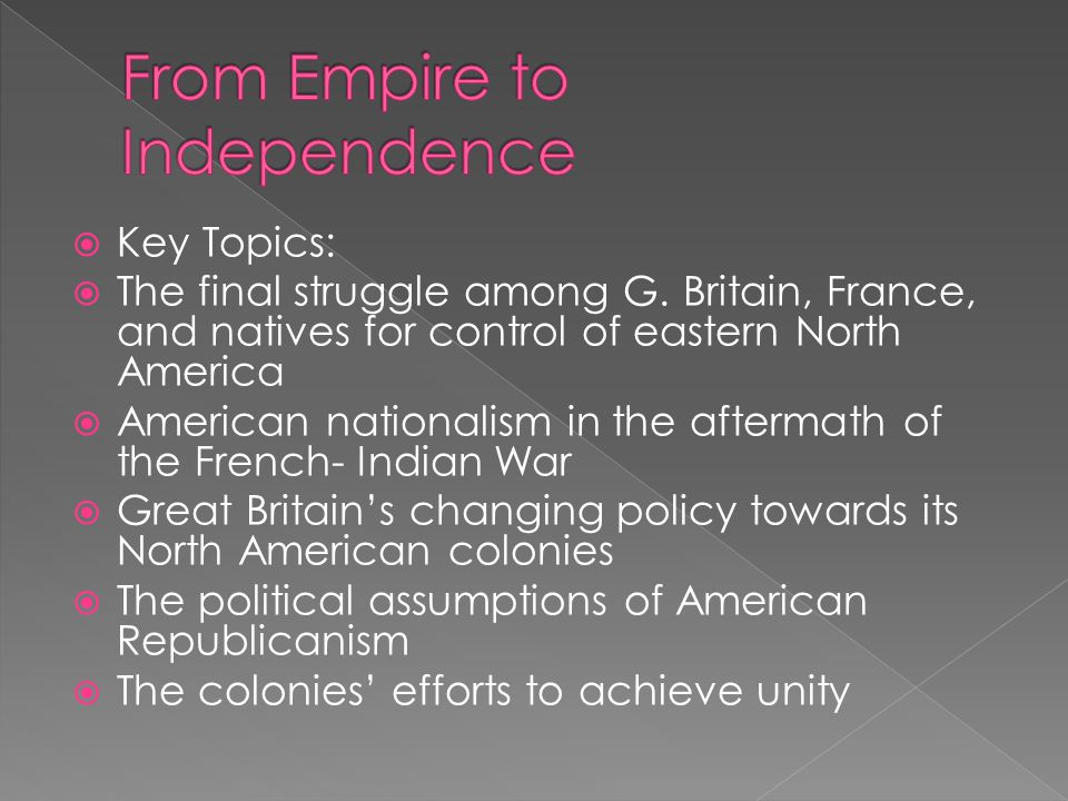  The Seven Years War in America  The Imperial Crisis in British North America  Save Your Money & Save Your Country  From Resistance to Rebellion  Deciding for Independence