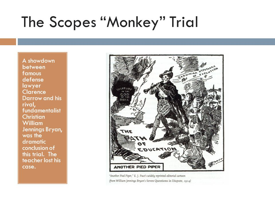 "The Scopes ""Monkey"" Trial A showdown between famous defense lawyer Clarence Darrow and his rival, fundamentalist Christian William Jennings Bryan, was"