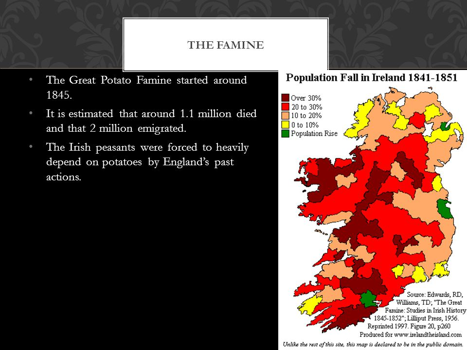 80% of Ireland's population was Catholic Catholics didn't have the same rights as Protestants.