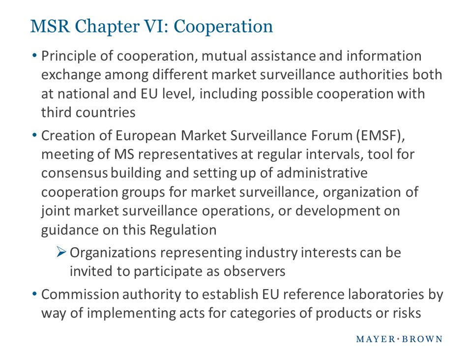 Principle of cooperation, mutual assistance and information exchange among different market surveillance authorities both at national and EU level, in