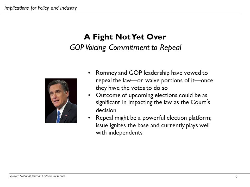 6 A Fight Not Yet Over Source: National Journal Editorial Research. GOP Voicing Commitment to Repeal Romney and GOP leadership have vowed to repeal th