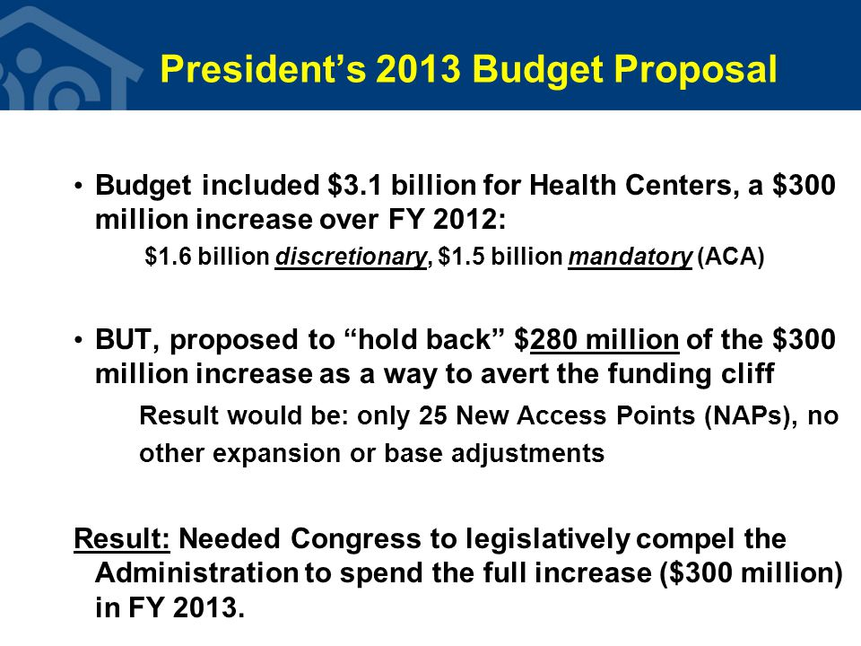 President's 2013 Budget Proposal Budget included $3.1 billion for Health Centers, a $300 million increase over FY 2012: $1.6 billion discretionary, $1.5 billion mandatory (ACA) BUT, proposed to hold back $280 million of the $300 million increase as a way to avert the funding cliff Result would be: only 25 New Access Points (NAPs), no other expansion or base adjustments Result: Needed Congress to legislatively compel the Administration to spend the full increase ($300 million) in FY 2013.