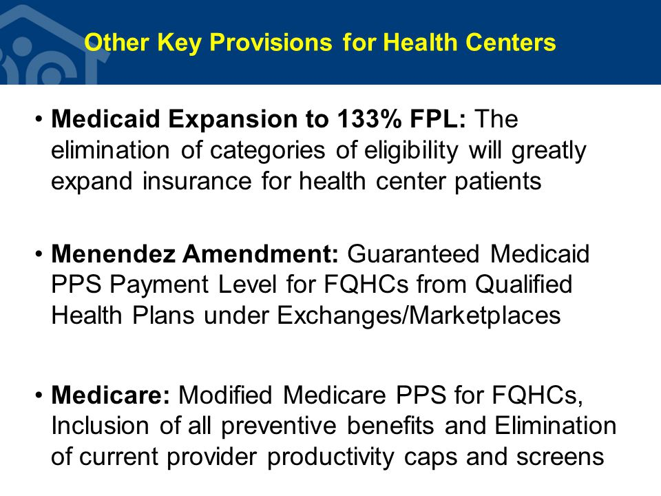 NACHC's 2014 Overarching Priorities –Avoid further cuts in Section 330 funding Secure full use of ACA funds to offset any sequester/ deficit reductions & to support growth where possible in FY 2014 Get key members of Congress to commit to address 2015 CHC funding cliff (when ACA funding expires) –Limit impact to Medicaid (& Medicare & ACA) to avoid cuts in eligibility, benefits, & payment (esp.