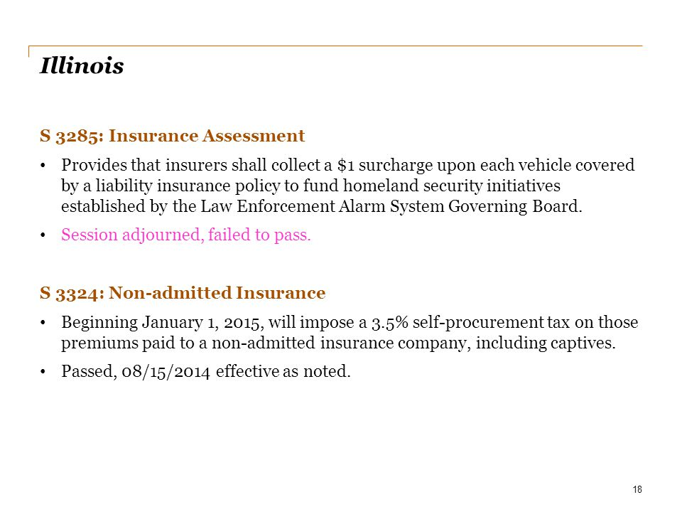 Illinois S 3285: Insurance Assessment Provides that insurers shall collect a $1 surcharge upon each vehicle covered by a liability insurance policy to