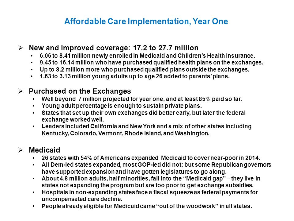Affordable Care Implementation, Year One  New and improved coverage: 17.2 to 27.7 million 6.06 to 8.41 million newly enrolled in Medicaid and Children's Health Insurance.