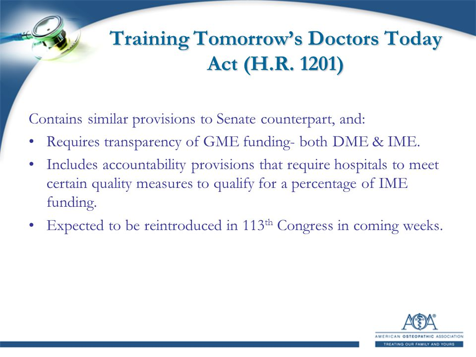 Training Tomorrow's Doctors Today Act (H.R.