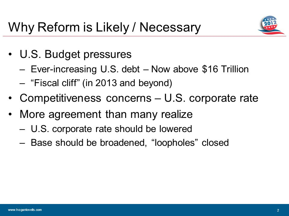 www.hoganlovells.com Why Reform is Likely / Necessary U.S.