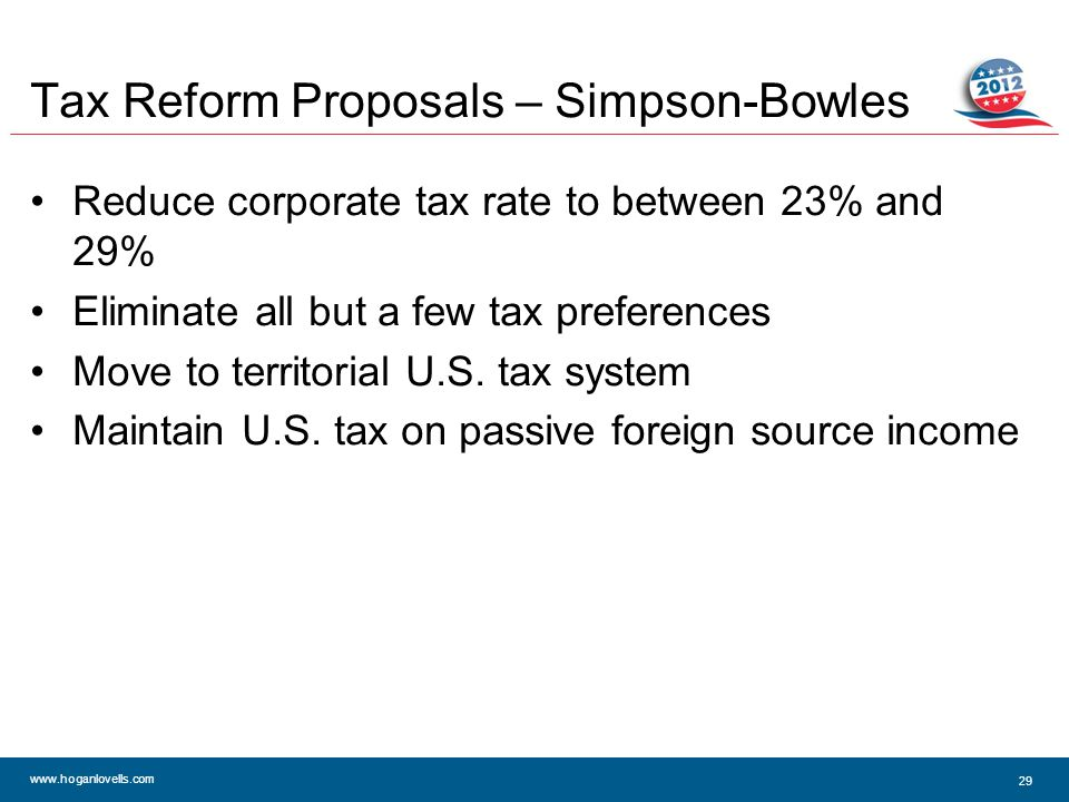 www.hoganlovells.com Tax Reform Proposals – Simpson-Bowles Reduce corporate tax rate to between 23% and 29% Eliminate all but a few tax preferences Move to territorial U.S.