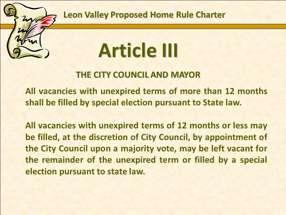 Charles E. Zech - City Attorney - City of New Braunfels Article III THE CITY COUNCIL AND MAYOR All vacancies with unexpired terms of more than 12 mont
