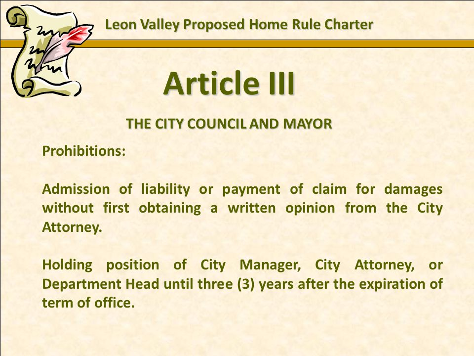 Charles E. Zech - City Attorney - City of New Braunfels Article III THE CITY COUNCIL AND MAYOR Prohibitions: Admission of liability or payment of clai