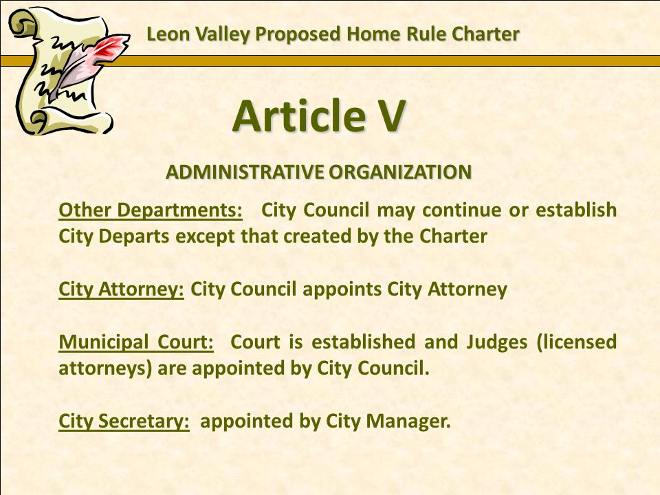 Charles E. Zech - City Attorney - City of New Braunfels Article V ADMINISTRATIVE ORGANIZATION Other Departments: City Council may continue or establis
