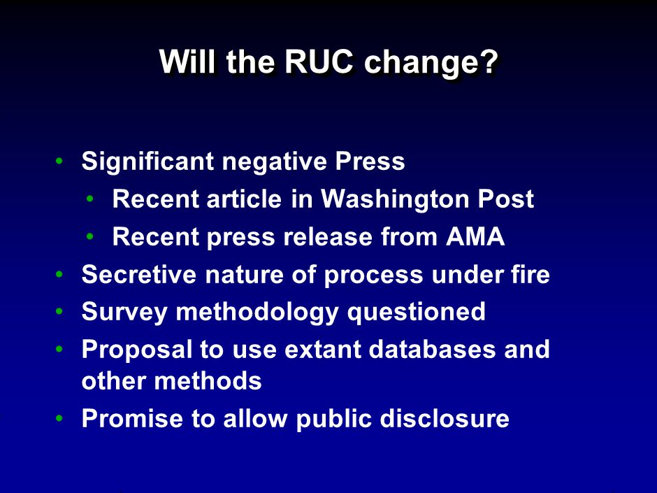 Will the RUC change.