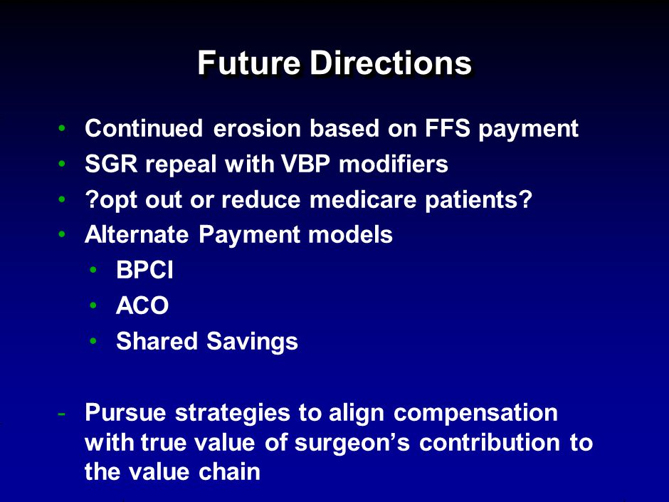Future Directions Continued erosion based on FFS payment SGR repeal with VBP modifiers ?opt out or reduce medicare patients.